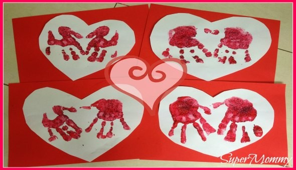 Easy Kid's Valentine's Day Hand Print Card Craft