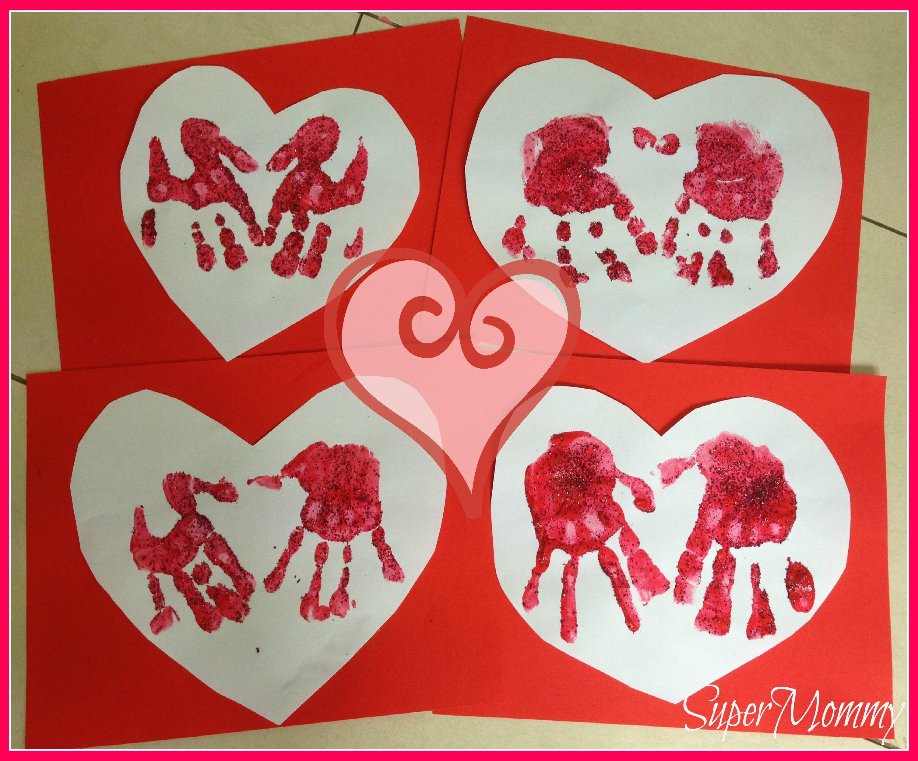 Easy Kids Valentines Day Handprint Heart Cards – Valentines Day Cards Crafts