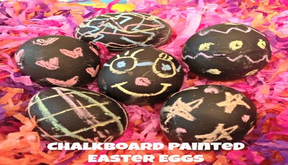 Kids Activity - Chalkboard Painted Easter Eggs