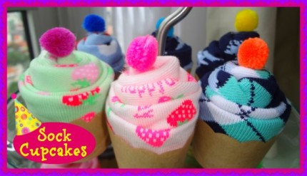 Birthday Party Sock Cupcakes