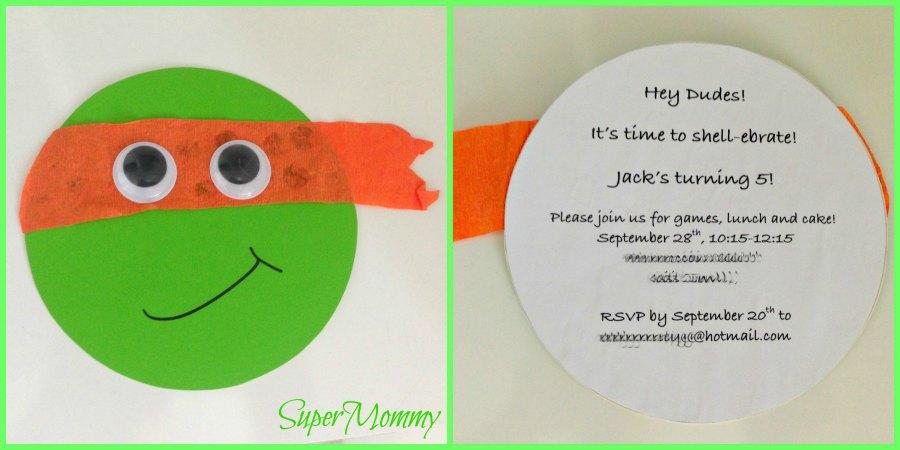 DIY Ninja Turtle Invites