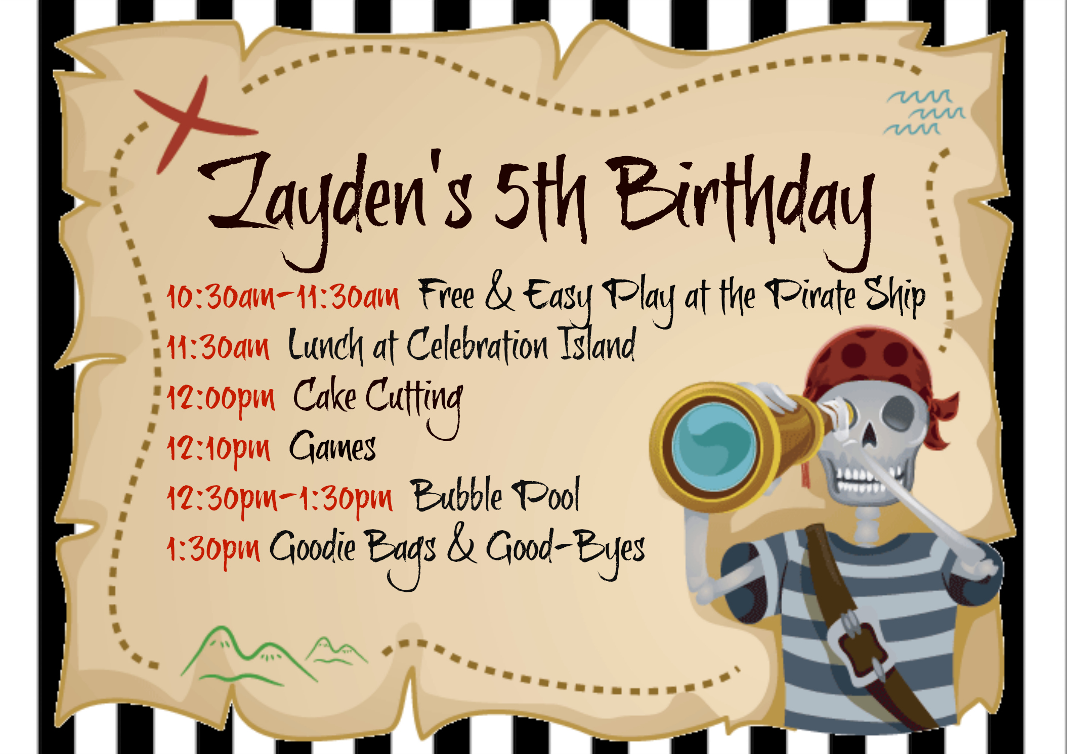 Pirate Themed Party Invitation Thank You Card Amp Stickers