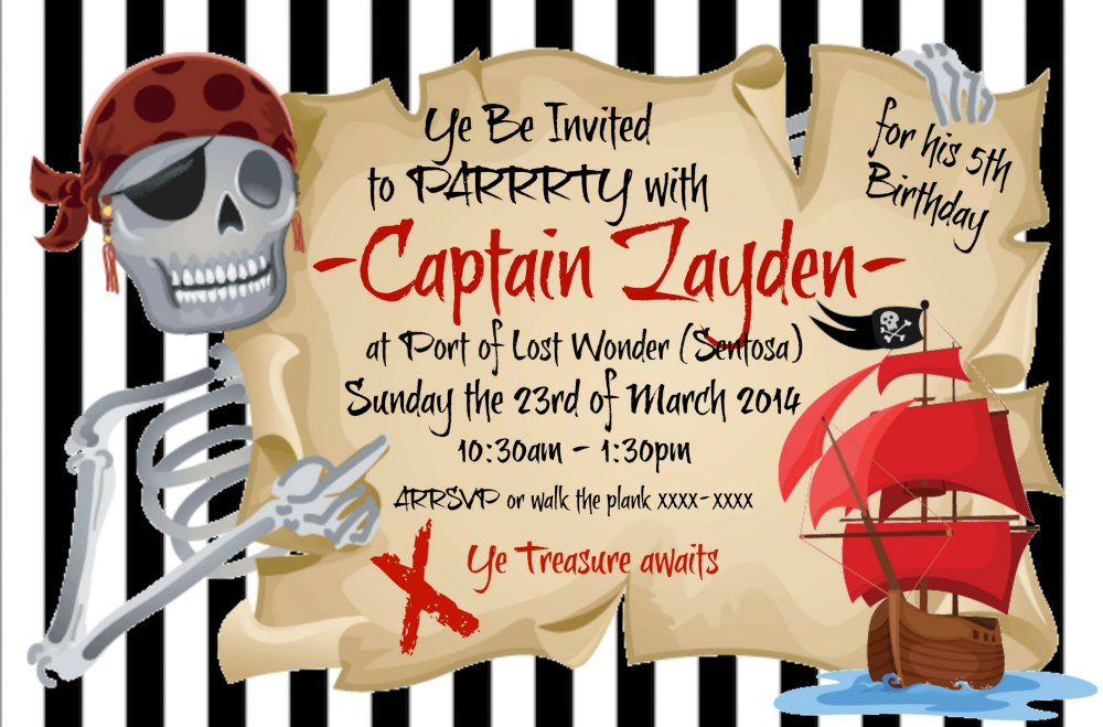 Pirate Themed Party Invitation, Thank You Card & Stickers