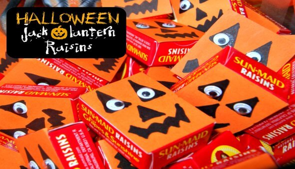 "Halloween Healthy ""Jack-O-Lantern"" Raisins"