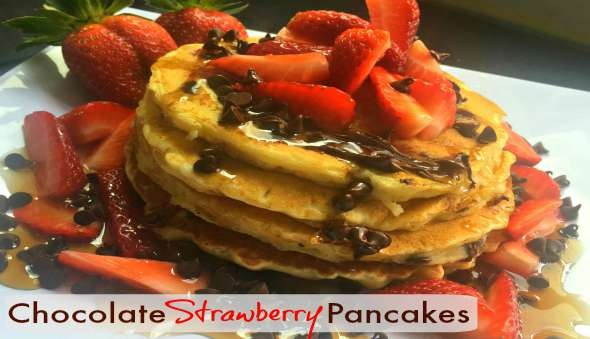 Easy Pancake Recipe Chocolate Strawberry Breakfast Food