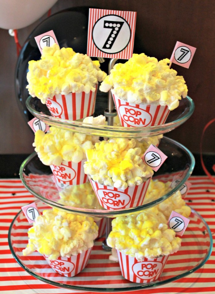 Movie Night Themed Kids Birthday Party Popcorn Cupcakes