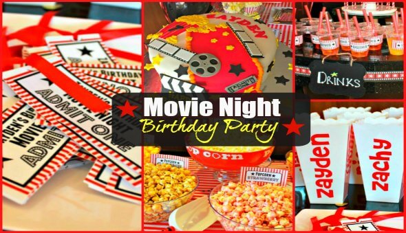 """Movie Night"" Themed Kids Birthday Party Ideas"