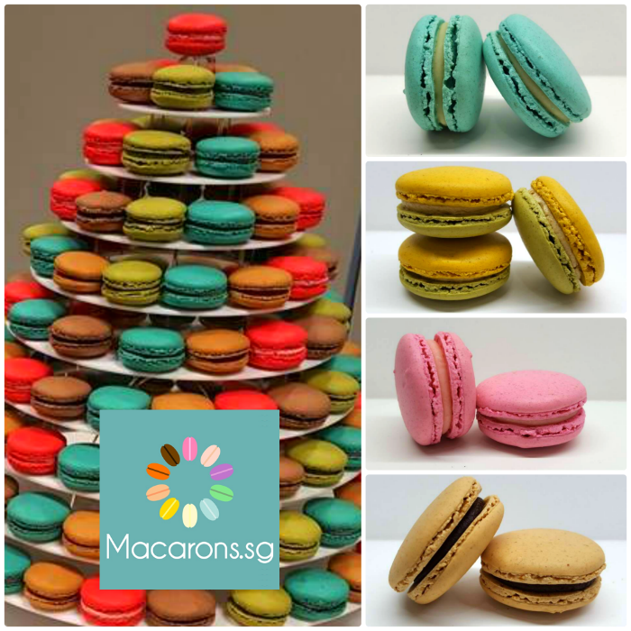 Buy Rent Macaron Tower Wedding Favour Customised Macarons Singapore SG Delivery Party Centerpiece Cake Anniversary Wedding ice cream