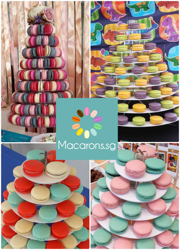 Buy Rent Macaron Tower Wedding Favour Customised Macarons Singapore SG Delivery Party Centerpiece Cake Anniversary Wedding Halal Macarons