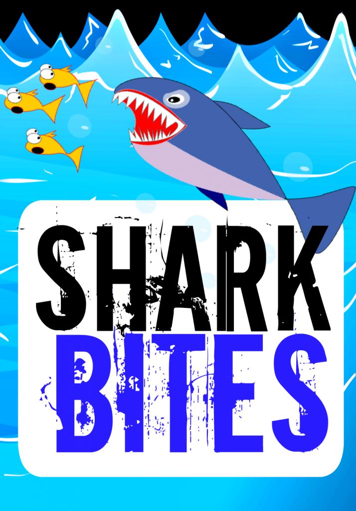 Shark Bites Sign Food Label Pool Party Banner