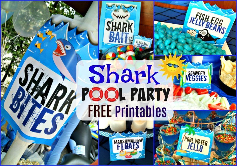 Shark Pool Beach Party Free Food Label Printables