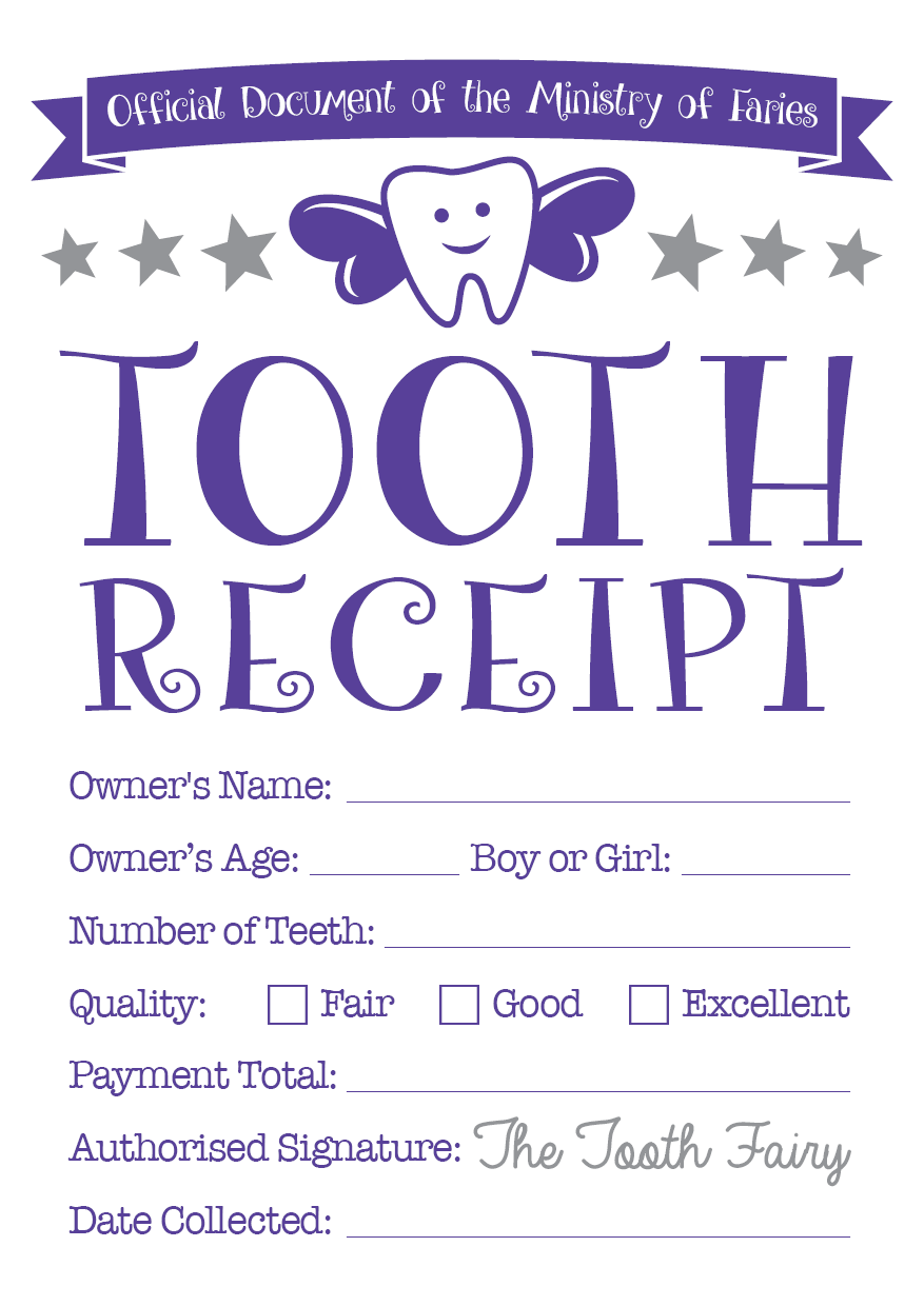 Tooth Fairy Certificate Receipt 2