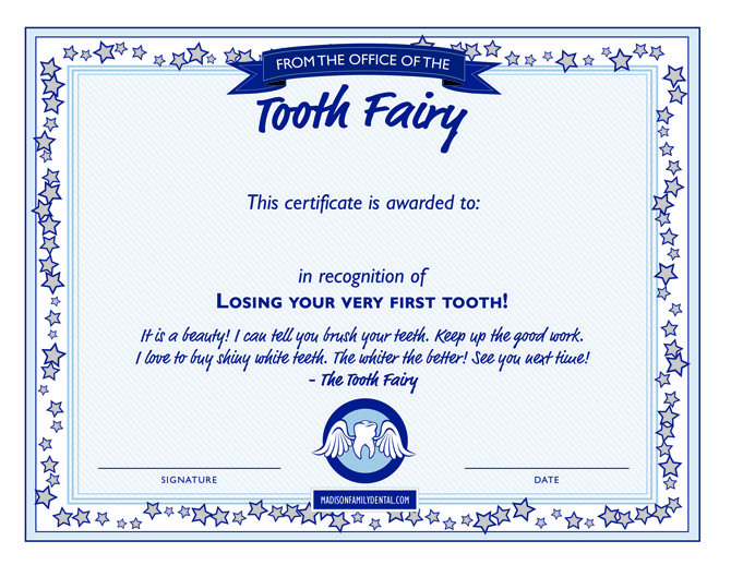 Tooth Fairy Certificate For Boys