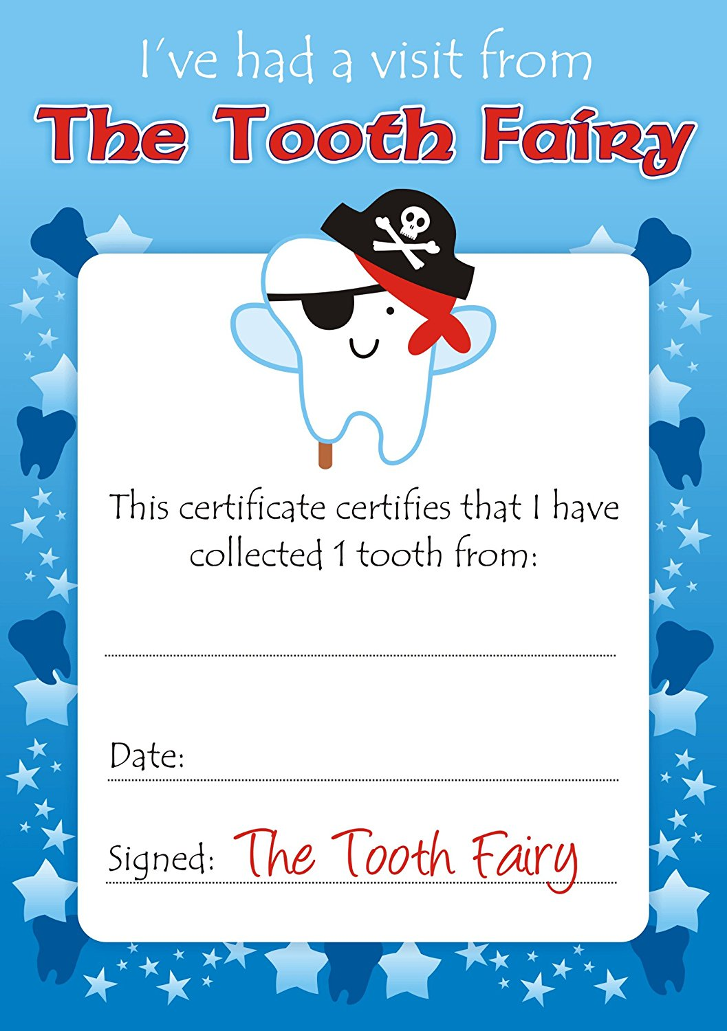 tooth fairy certificate template free image collections