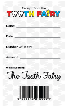 tooth fairy certificate receipt lost tooth boys printable