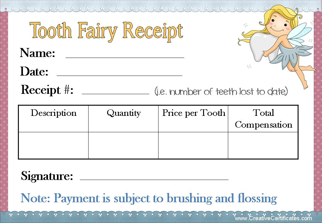 Free Printable Tooth Fairy Receipt Note