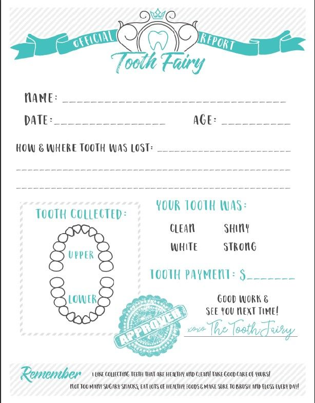 Tooth fairy certificate receipt free printable