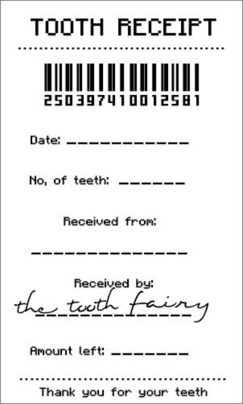 tooth fairy receipt certificate free printable lost first tooth idea