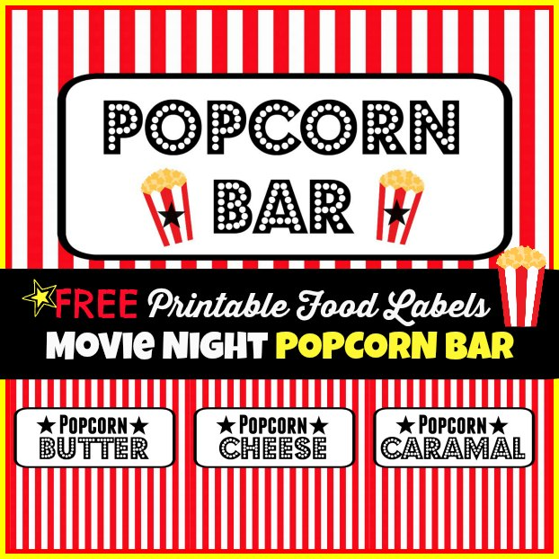 Movie Night Party Popcorn Bar Free Printable Food Labels 2