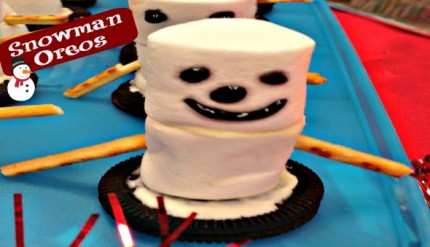 Snowman Marshmallow Cookies - Easy No-Bake Kid's Chirstmas Activity