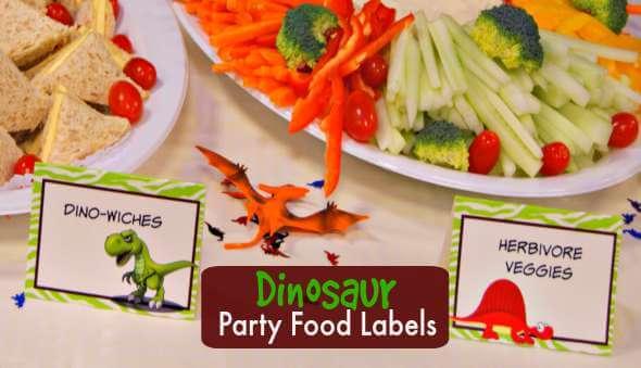 Dinosaur Party Printable 'Food Labels'