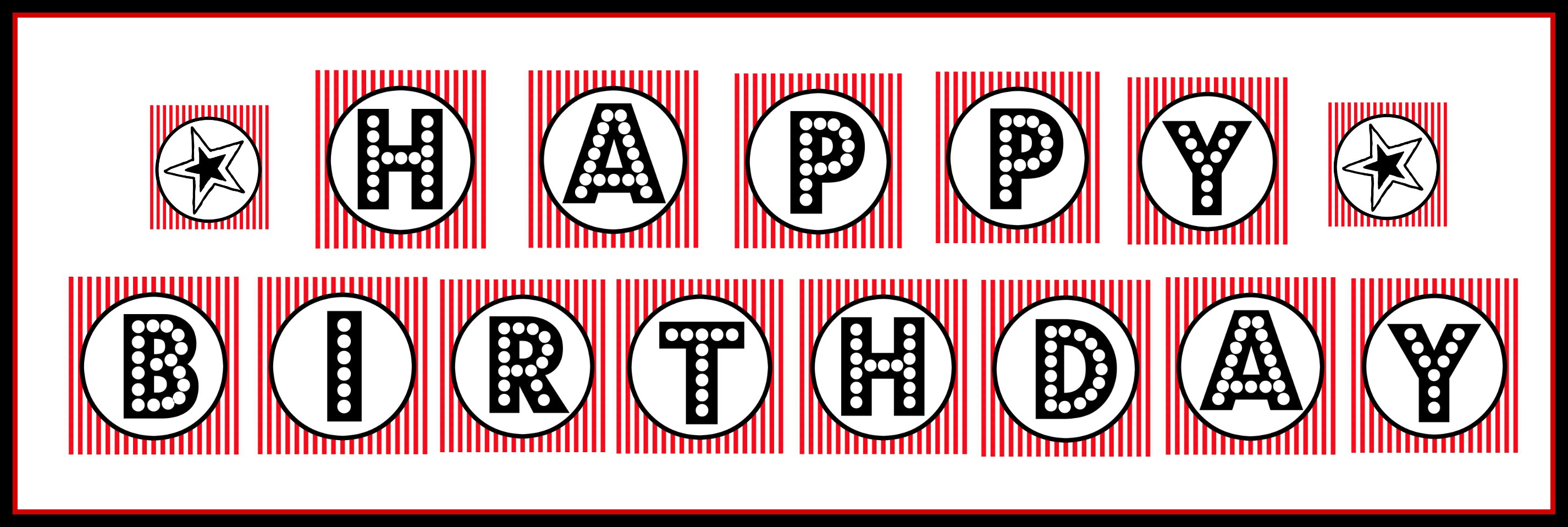 "free printable ""happy birthday"" banner / red, black & white"