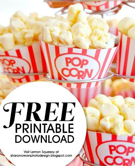 Free Popcorn Cupcake Wrapper Movie Night Food