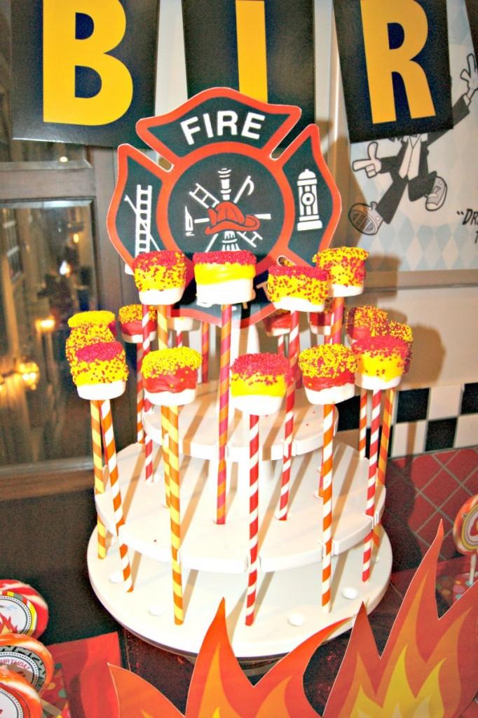 Fireman Marshmallow Cake Pops