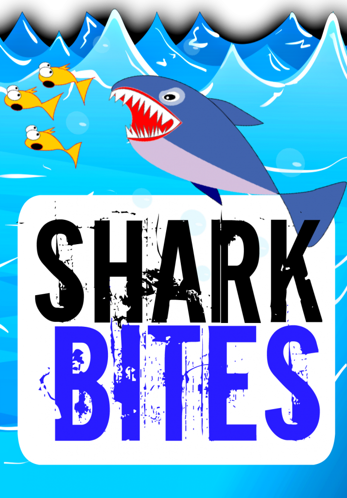 Shark Bites Sign Food Label Pool Party Banner