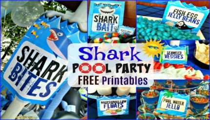 Shark Pool Beach Party Free Food Water Label Printables Ideas