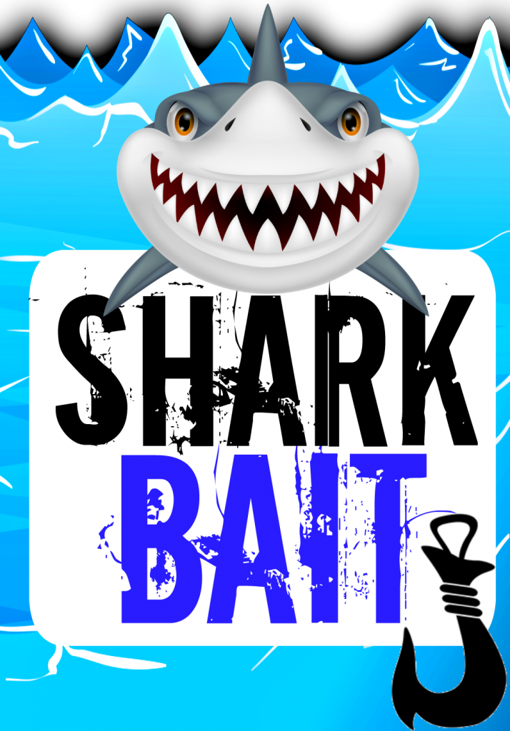 Shark Pool Party Banner Sign Food Label Shark Bait