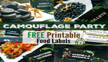 Free Printable Food Labels Camouflage Military Army Camo Kids Birthday Party Ideas Printables