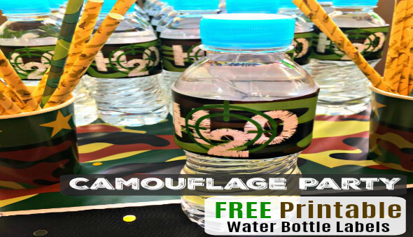 "Kid's Camouflage Party ""Water Bottle Labels"" / Free Printables"