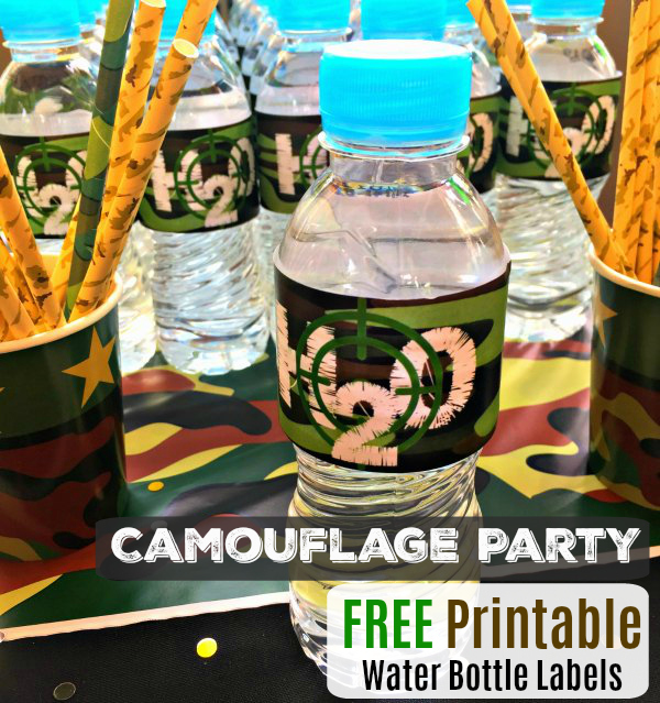 Camo Military Water Bottle Label Free Party Printable Download